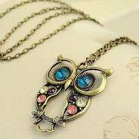 Multicolor Rhinestone Hollowed-out Owl Pendant Chain Necklace Gofavor