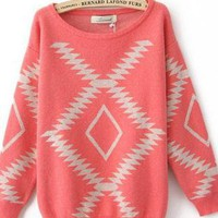 Light Red Vintage Diamond Sweaters For Women