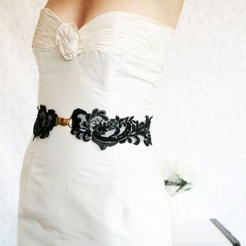 Bridal Wide Black Lace Sash