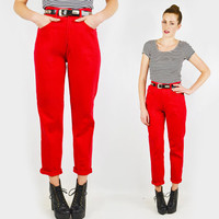 vintage 80s red HIGH WAIST SKINNY pants / 80s high waisted skinny pants / 80s high waist pants / high waisted pants / skinny fit pants / s
