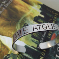 The Mortal Instruments Nephilim Inspired Hand Stamped AVE ATQUE VALE Aluminum Cuff Bracelet Geekery