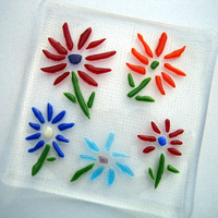 Fused Glass Plate - Glass Flowers on a Clear Glass Plate - Colorful Accent Plate