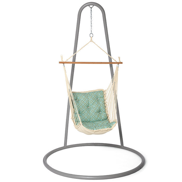 Cushioned hammock swing and wood stand from brookstone for Hammock chair stand plans