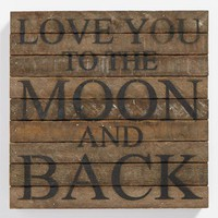 Second Nature by Hand 'Love You to the Moon' Repurposed Wood Wall Art - Brown