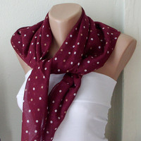 Dotted Cotton Dark Red garnet Spring Scarf by Periay on Etsy