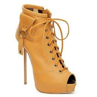 Giuseppe Zanotti tan lace-up platform peep-toe boots