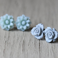 Flower Earring Set : Light Blue and Sky Floral Studs, Set of Two, Matte, Fake Plugs, Artisan Tree, Bohemian