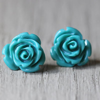 Stud Earrings : Teal Flower Stud Earrings, Sterling Silver Plated Earring Posts, Simple, Fun, Glossy, Bohemian, ArtisanTree