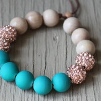 Rose Gold and Teal Pave Bracelet : Adjustable Bracelet with White Shambala Beads, Whitewood Beads