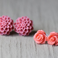Flower Earring Set : Pink Coral and Orange Floral Studs, Set of Two, Fun, Matte, Fake Plugs, Artisan Tree, Bohemian