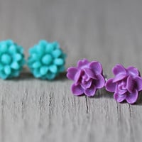 Flower Earring Set : Teal and Purple Floral Studs, Set of Two, Fun, Matte, Fake Plugs, Artisan Tree, Bohemian
