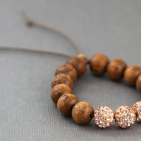 Shambala Bracelet : Adjustable Beaded Bracelet with Champagne Pave Beads and Bayong Wood Beads, Brown Cotton Cord, Rose Gold