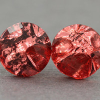 Fake Plugs : Red Metallic Faceted Stud Earrings, Simple, Minimal, Neon, Bright, Foiled, Fake Plugs