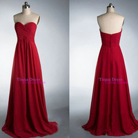Red prom dresses, long bridesmaid dress