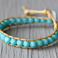 Wrap Bracelet : Teal and Gold Bohemian Friendship Cuff, Shell Button Closure, Adjustable, ArtisanTree, Natural, Floral, Turquoise, Metallic