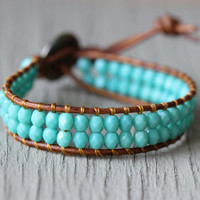 Wrap Bracelet : Teal Blue Beaded Bohemian Friendship Cuff, Turquoise, Adjustable, ArtisanTree, Natural, EcoFriendly, Aztec Button