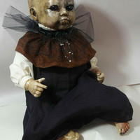 """One of A Kind Altered Art  Creepy Zombie Baby Doll """"Oh Brother """" Freaky Awful Scary Haunted Weird L.Cerrito Salvage Artist Doll"""