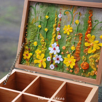 $75.00 Tea box with yellow flower meadow embroidery by Indrasideas