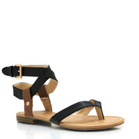 Ankle-Strap-Thong-Sandals BLACKTAN - GoJane.com