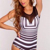 Black White Printed Mesh Detail Bodysuit Outfit