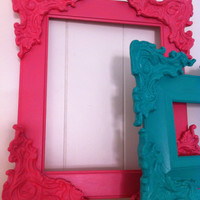 Painted Ornate Vintage Frame, Pink Shabby Chic, Sleeping Beauty, Little Girls Room, Home Decor