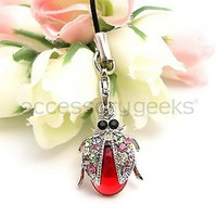 Dazzle your cell phone today with Cute Sparkling Lady Bug Wings Cubic Cell Phone Charm w/ Strap.