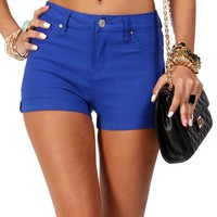 Royal Blue High Waisted Stretch Shorts
