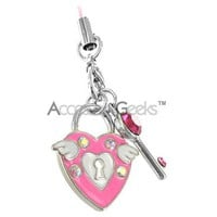 Buy the Heart & Lock cell phone charm for a great new look, color, & feel to your phone!