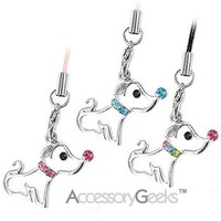Customize phones w/ this cute Cute Puppy w/ Cubic Stone Nose & Necklace cell phone charm - pink!