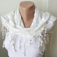 Off White Bridal coton with lace scarf by Periay on Etsy