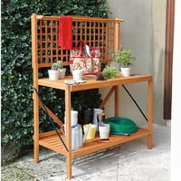 Folding Garden Potting Bench at Brookstone—Buy Now!