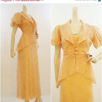 SALE 30s Dress Vintage Peach Blush Lace Tea Gown & Peplum Jacket 3 Piece Bridal Suit M