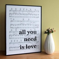 "Beatles Lyrics Typographic Art Print On Framed Sheet Music ""all You Need Is Love"" 