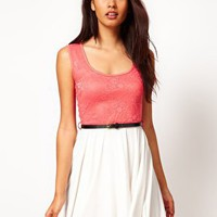 Paprika | Paprika Sleeveless Lace Top Skater Dress at ASOS