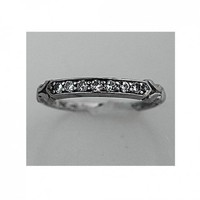 Antique Platinum Old European Cut Diamond Wedding Band Early 1900s | artdecodiamonds - Wedding on ArtFire