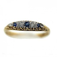Antique 18 Kt Yellow Gold Old European Diamond Sapphire Wedding Band | artdecodiamonds - Antiques on ArtFire