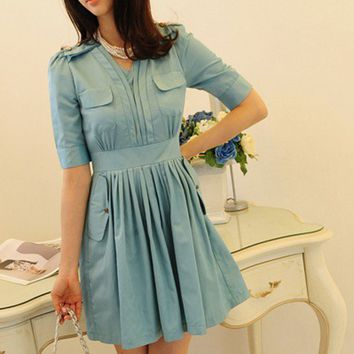 Mint Skyblue pleated poket button Dress | Dressholic - Clothing on ArtFire