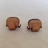Elephant stud earrings - eco friendly wood earring studs by onehappyleaf on etsy