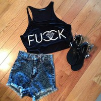 Black Print Crop Top