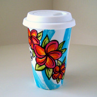 Ceramic Travel Mug Hawaii Surfer Floral Tropical Plumeria Orange Turquoise Waves by sewZinski