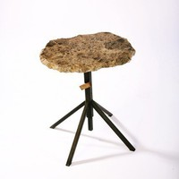 Adjustable Granite End Table  Browned Steel by IndustryMfgCo