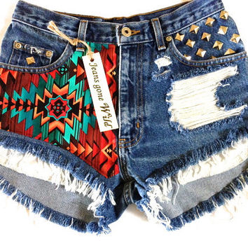 INDIO High waisted denim shorts super frayed with motif size Sm/Med/Lg