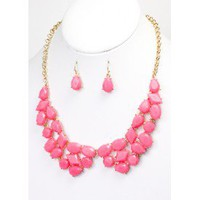 Fuchsia Stone Collar Necklace