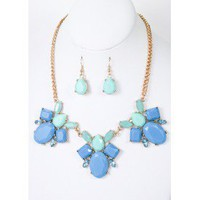 Sky Blue Cluster Necklace