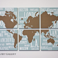 World Map and Major Cities Screen Print Collection  by RightGrain
