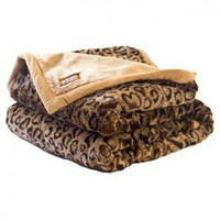 Posh Pelts Leopard Faux Fur Throw Blanket with Cinnamon Accents and Camel Color Lining - LP Throw - Blankets & Throws - Bed & Bath
