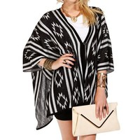 BlackIvory Tribal Print Poncho