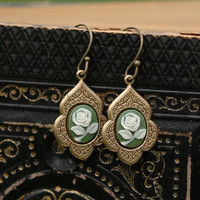 Green Rose Earrings - RagTraderVintage.com