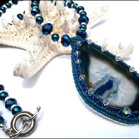 Hand Beaded Agate Slice Pendant Cobalt Crystal Teal Pearl Necklace