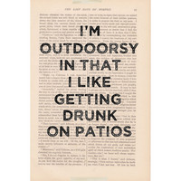 dictionary art vintage I'm OUTDOORSY In That I by ExLibrisJournals